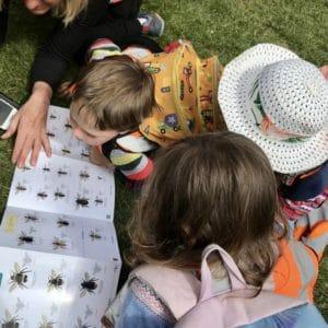 Children crowd around a bug identification sheet in the forest