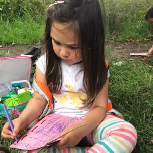 wild about play outdoor learning nursery forest school story scribing mark making literacy