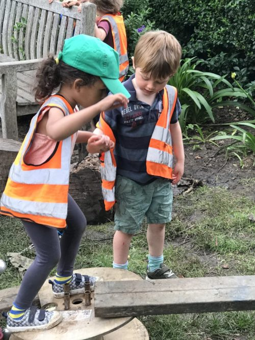 helping eachother children outdoor nursery forest school putney wap wild about play