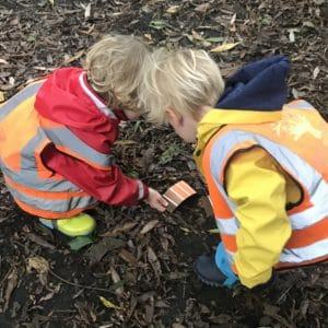 children using colour charts to match items to shades outdoor learning forest schoool